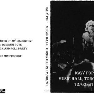 Iggy Pop 1981-12-03 Music Hall, Toronto, ON DVD
