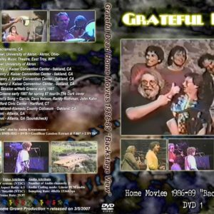 Greatful Dead 1986-1989 Home Movies DVD