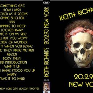 Keith Richards 1993-02-20 Beacon Theater, New York, NY DVD