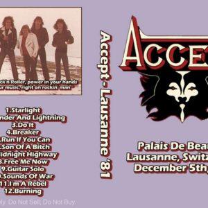 Accept 1981-12-05 Lausanne, Switzerland DVD