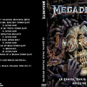 Megadeth 1992-09-22 Le Zenith, Paris, France DVD