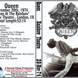 Queen 1974-11-20 Rainbow, London, UK DVD