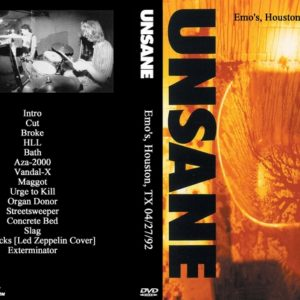 Unsane 1992-04-27 Emo's, Houston, TX DVD